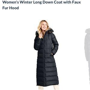 NWOT Land's End Women's Medium Long Down Coat